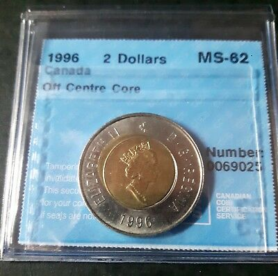 Error 1996 2 Dollars Canada Off Center Core MS-62