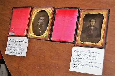 Pair 1/4 plate daguerreotypes of brothers - identified - one served in Civil War