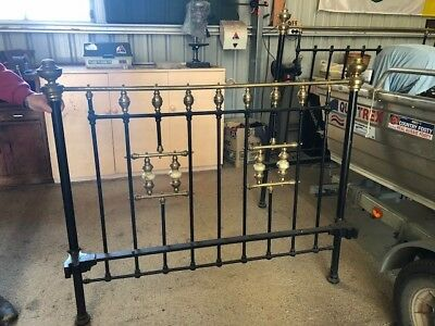 Antique Double Brass Beds - good condition
