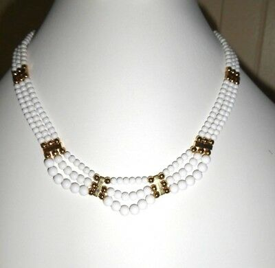 Vintage Mutli Strand White Gold Tone Necklace