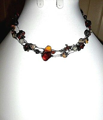 Vintage Multi Strand Colored Stone Wire Necklace Choker