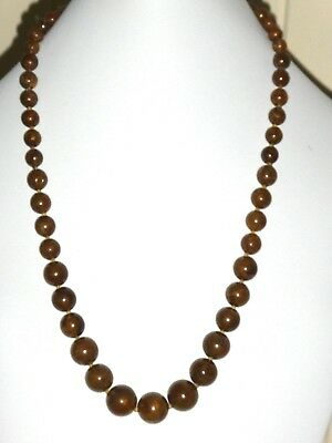 Vintage Bronze Brown Bead Necklace