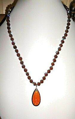 Vintage Aurora Borealis Glass Amber Brown Pendant Necklace