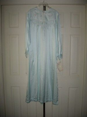 Vtg Barbizon Cuddleskin Long Blue Nightgown Nwt Size Large Lace Embroidery