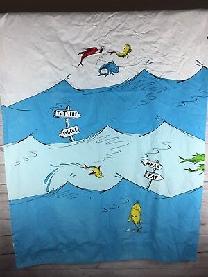 Pottery Barn Kids Dr Seuss Shower Curtain One Fish Two Red Blue