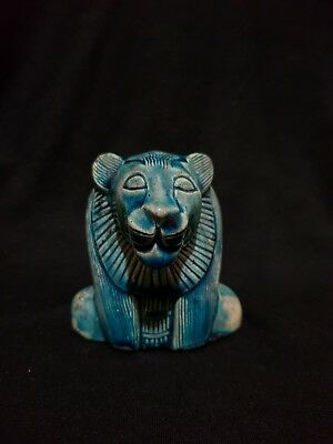 Rare Ancient Egyptian Antique Goddess Sekhmet Faience Blue Glazed 300 BC