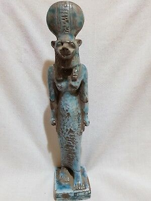 Rare Ancient Egyptian Antique Goddess SEKHMET Faience Statue Blue Glazed 300 BC