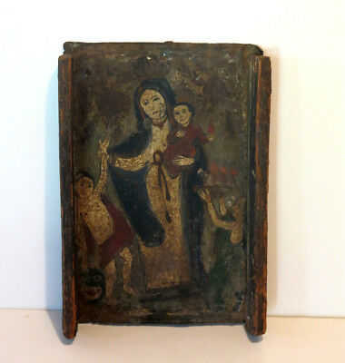 "Antique Retablo on Tin ""Our Lady of Light"" Original Painting 10"" x 7"""