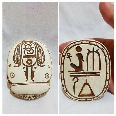 Ancient Egyptian Antique Egypt Scarab Hieroglyphs Beetle White Carved Stone BC