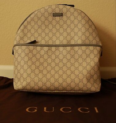 20553197069 Authentic GUCCI GG Supreme Monogram Canvas Backpack Gray Rare Free Next Day  Ship