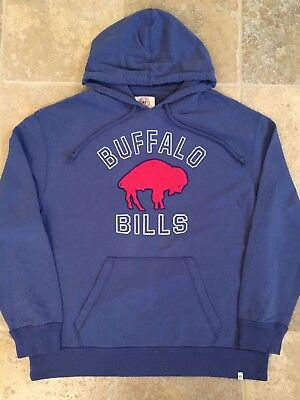 ef575898 VINTAGE BUFFALO BILLS Sweatshirt Mens XL Blue Hoodie Throwback Logo NFL