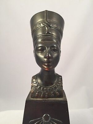 Iconic Egyptian Queen Nefertiti Bronze 1920s Revival Heavy Figure Metal Bust