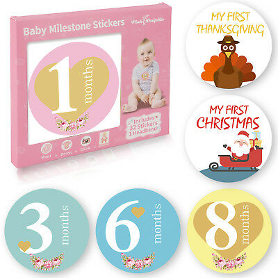 32 Pack Baby Monthly Milestone Stickers for Boys & Girls(Free Headband Included)