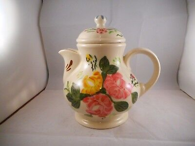 Coffee Chocolate Pot & Lid, Blue Ridge China, Southern Potteries, Pink Flowers
