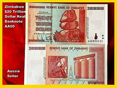 Zimbabwe $20 Trillion Dollar Unc Note Aa00 Series Real Banknote 2008 Low Nu.