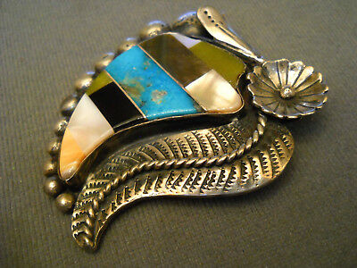 Native American Indian Multi-Stone Inlay Sterling Silver Pendant