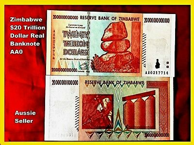 Zimbabwe 20 Trillion Dollar Bank Note 20T Unc Real Banknote 2008 Aa Series