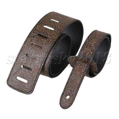 PU Leather Adjustable Guitar Strap for Acoustic/Folk/ Classic Guitar Brown