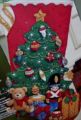 """Bucilla UNDER THE TREE Felt Christmas Stocking Kit Soldier OOP Factory Direct18"""""""