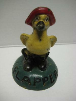 RARE Antique Vintage Cast Iron Hubley The Flapper Duck Paper Weight