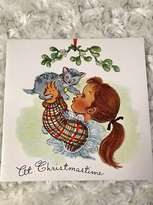 Vintage unused christmas greeting card god bless the children vintage christmas card little girl with her kitten signed m4hsunfo
