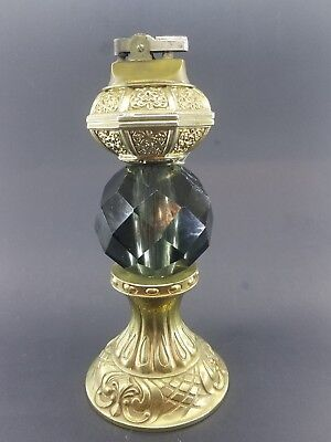 """Vintage  Brass And Cut Glass Or Crystal Table Lighter - 7,5"""""""