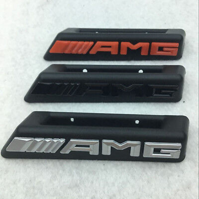 AMG Emblem Badge Front Grille Grill Plastic Silver Racing Logo For Mercedes-Benz