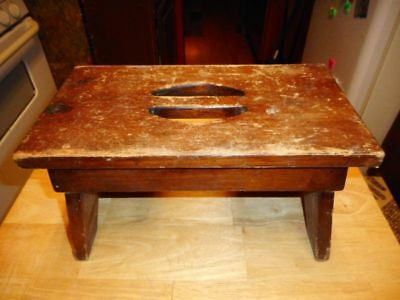 Vtg Antique Solid Wood Primative Carry Stool Bench Chair Seat Farm Milking