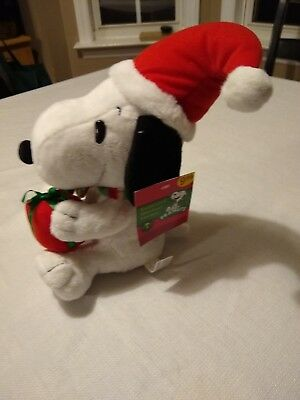 """2009 NEW Peanuts 9"""" Snoopy Animated Musical Dancing Christmas Plush Toy w/Sound"""