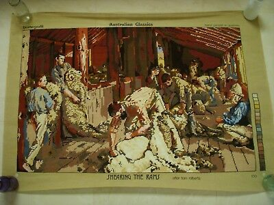 Completed WOOL TAPESTRY - Tom Roberts Shearing the Rams- Unframed