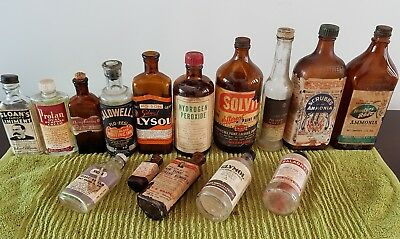 Old collectable bottles with labels