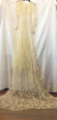 Antique wedding dress and veil, sheer off white Vintage gown w/ floral design