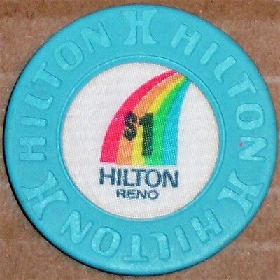 Old $1 HILTON Hotel Casino Poker Chip Vintage Antique House Mold Reno NV 1981