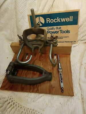 Vintage ROCKWELL Drill Press Mortise Attachment w/manual, bit & chisel