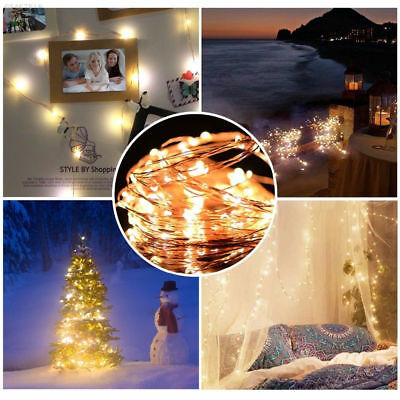 1-10M Battery Powered Copper Wire String Fairy Xmas Party Lights Warm White Xmas