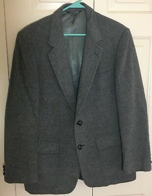 Mens 100% Camel Hair Blazer Gray Made in USA Leather Buttons SZ 38 Lined