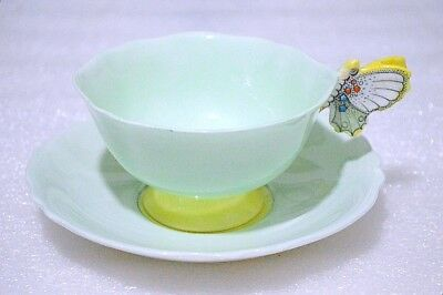 Paragon England Mint Color Yellow Accent Butterfly Handle Cup and Saucer Set