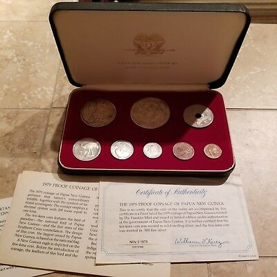 1979 Proof Set Of Papua New Guinea 8 Coins 2 Silver Franklin Mint authentic