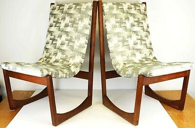 A Pair of Mid-Century Modern Walnut Green and Cream Patterned Dining Chairs