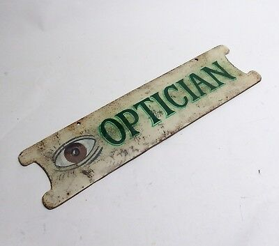 """Antique 24"""" Heavy Cast Iron Optician Optometry Double-Sided Sign EXC COND!"""