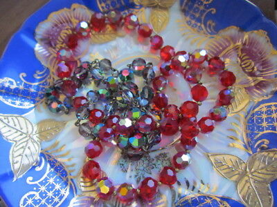 Red Green Aurora Borealis Crystal Faceted Vintage Beads Necklace Glass Lot