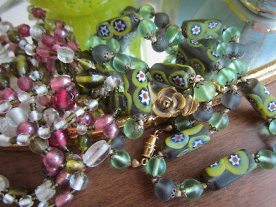 Green Millefiori Murano Venetian Vintage Beads Necklace Glass White  Italy lot