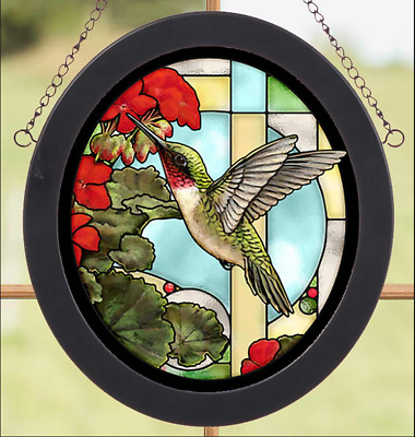 Hummingbird & Geraniums Stained Glass Art by Rosemary Millette Wild Wings