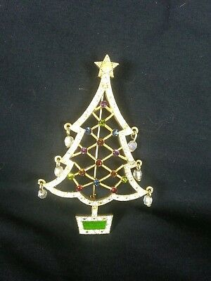 Christmas Tree Pin Signed Avon 2005 2nd Annual Gold Toned Rhinestones