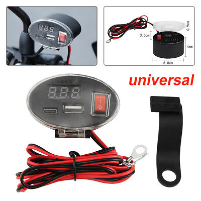 Motorcycle Car Charger Waterproof Switch Dual USB with Display Charger 3-12V