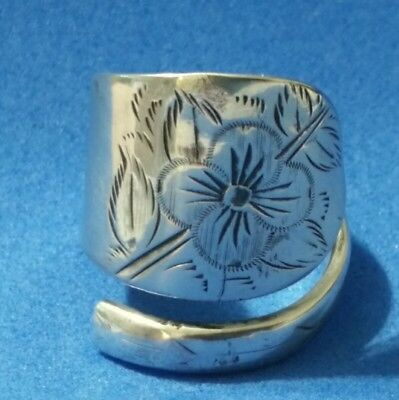 Engraved Flower Spiral/Wrap Around Sterling Silver Spoon Ring size 7½ - 7¾