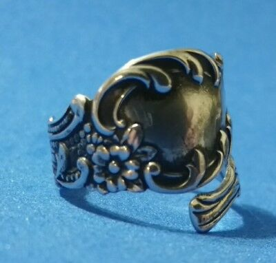 Floral Nouveau Style Spiral/Wrap Around Sterling Silver Spoon Ring size 6½