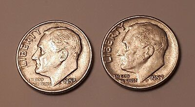 Lot of 2 : 1953 and 1957 Roosevelt Dimes (both have 90% Silver)