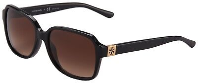 Tory Burch Womens Sunglasses TY7098 137713 Shiny Black | Brown Gradient Lens