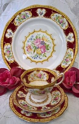 SUPERB ROYAL ALBERT LADY HAMILTON 4 PIECE TRIO & DINNER PLATE MADE IN ENG 1stQ!!